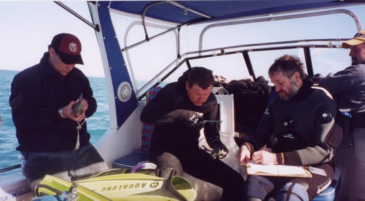 measuring abalone on boat 2